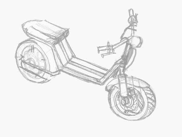 Electric pedal moped Evolts model design progress 1